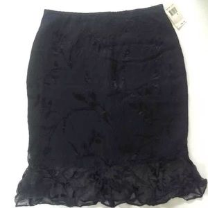 Drama Black Floral Ruffled Lace Skirt Size 8
